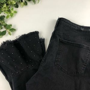 Pilcro Black High Rise Studded Cropped Flare Jeans